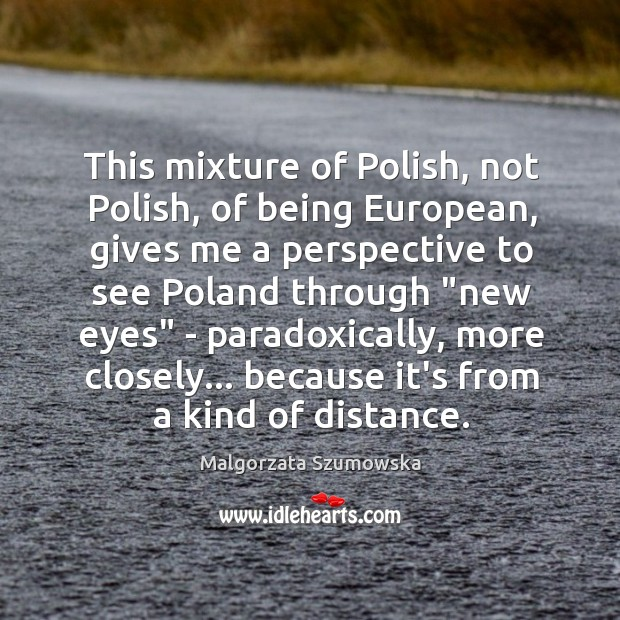 This mixture of Polish, not Polish, of being European, gives me a Image