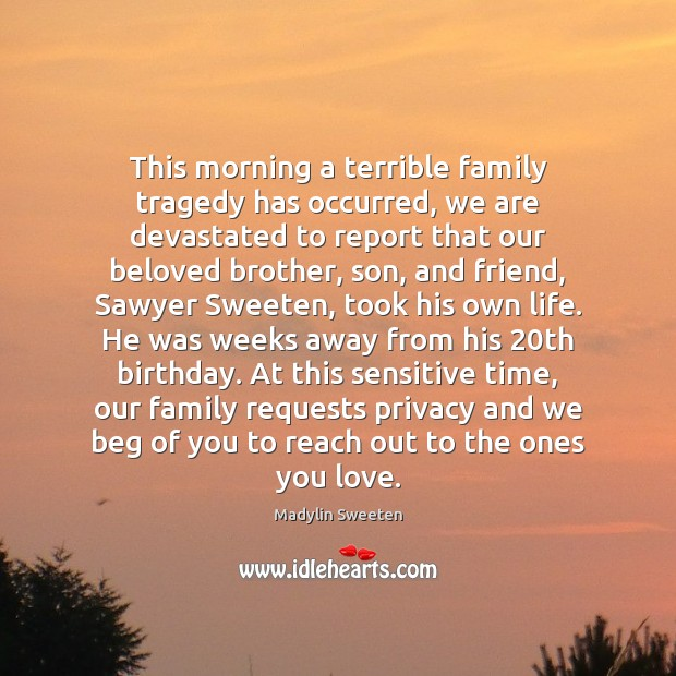 Image, This morning a terrible family tragedy has occurred, we are devastated to