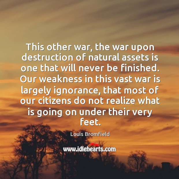 This other war, the war upon destruction of natural assets is one Image