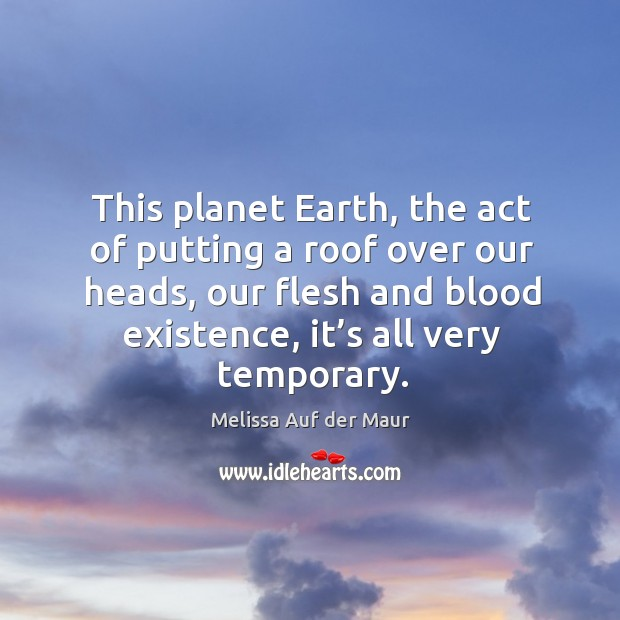 This planet earth, the act of putting a roof over our heads, our flesh and blood existence, it's all very temporary. Image