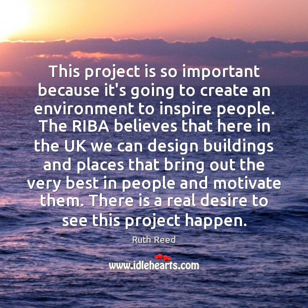 This project is so important because it's going to create an environment Image