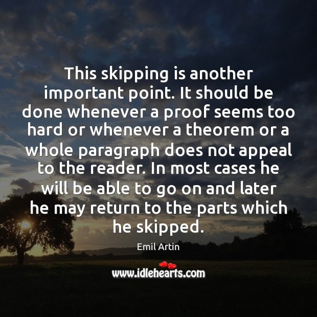 This skipping is another important point. It should be done whenever a Image