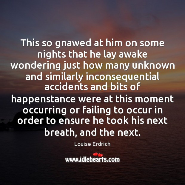 This so gnawed at him on some nights that he lay awake Louise Erdrich Picture Quote