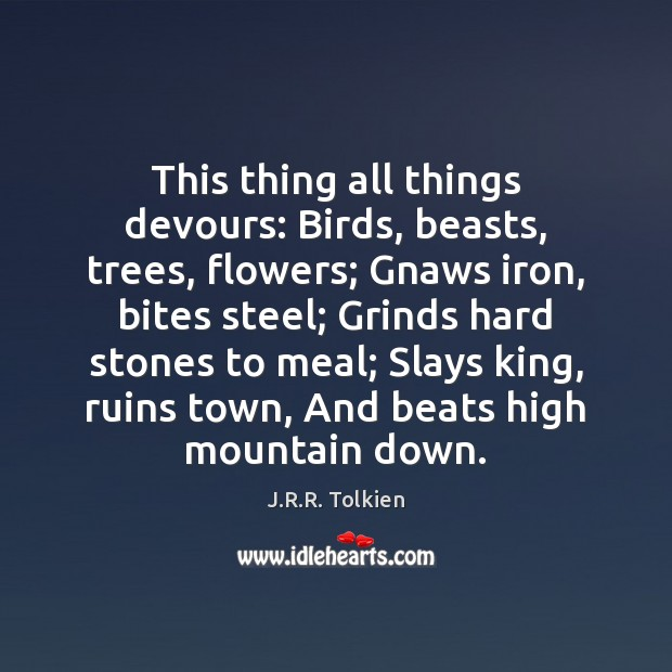 This thing all things devours: Birds, beasts, trees, flowers; Gnaws iron, bites Image