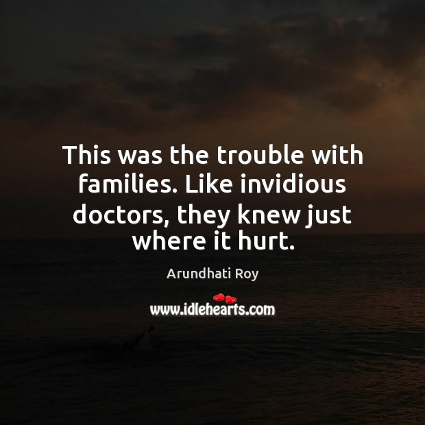 This was the trouble with families. Like invidious doctors, they knew just where it hurt. Arundhati Roy Picture Quote