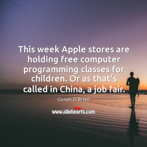 Image, This week Apple stores are holding free computer programming classes for children.