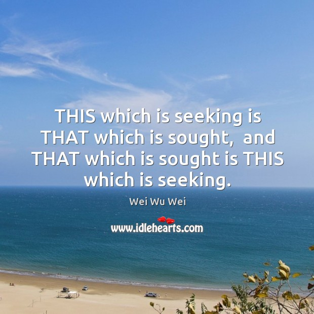 THIS which is seeking is THAT which is sought,  and THAT which Image