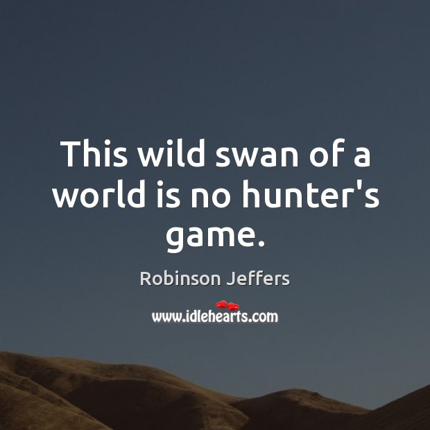 This wild swan of a world is no hunter's game. Robinson Jeffers Picture Quote