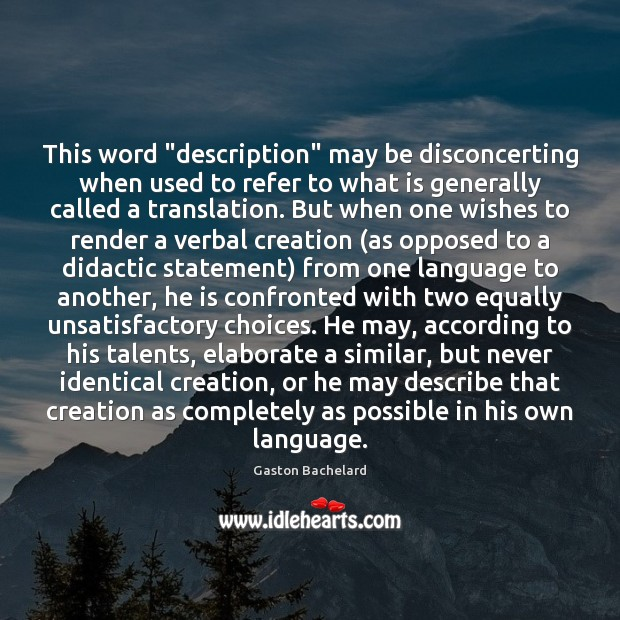 """This word """"description"""" may be disconcerting when used to refer to what Image"""