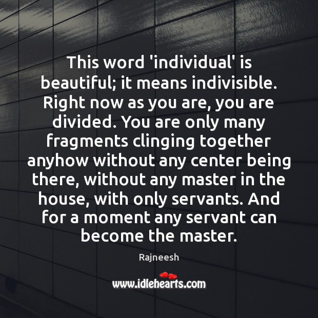 Image, This word 'individual' is beautiful; it means indivisible. Right now as you