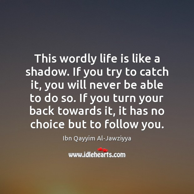 This wordly life is like a shadow. If you try to catch Image