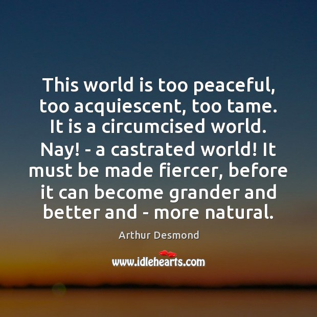 Image, This world is too peaceful, too acquiescent, too tame. It is a