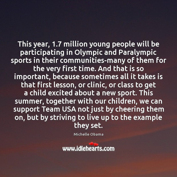 This year, 1.7 million young people will be participating in Olympic and Paralympic Image