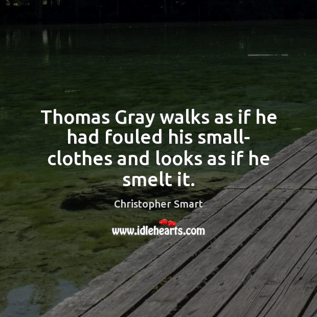 Thomas Gray walks as if he had fouled his small- clothes and looks as if he smelt it. Christopher Smart Picture Quote