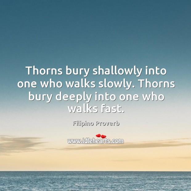 Thorns bury shallowly into one who walks slowly. Filipino Proverbs Image