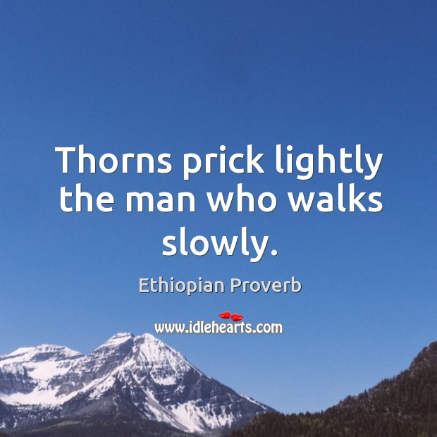 Thorns prick lightly the man who walks slowly. Ethiopian Proverbs Image