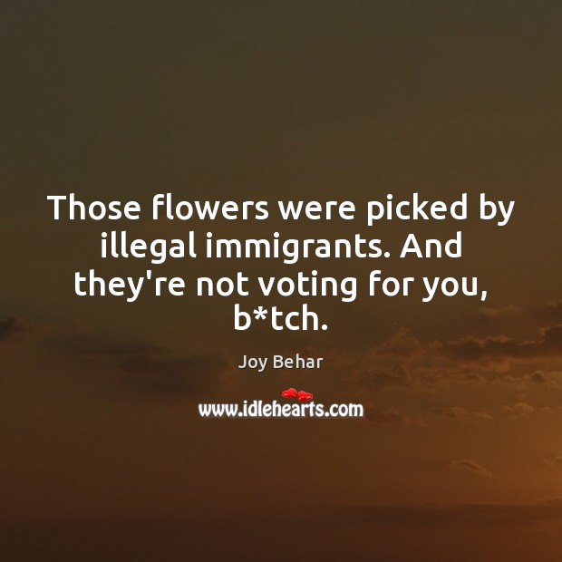 Those flowers were picked by illegal immigrants. And they're not voting for you, b*tch. Joy Behar Picture Quote