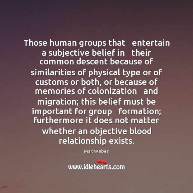 Those human groups that   entertain a subjective belief in   their common descent Image
