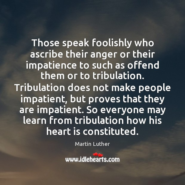 Those speak foolishly who ascribe their anger or their impatience to such Martin Luther Picture Quote
