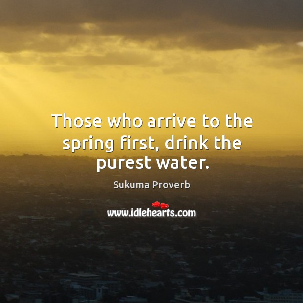 Those who arrive to the spring first, drink the purest water. Sukuma Proverbs Image