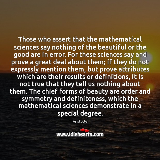 Image, Those who assert that the mathematical sciences say nothing of the beautiful