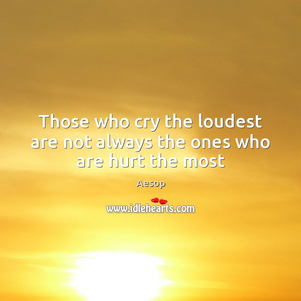 Image, Those who cry the loudest are not always the ones who are hurt the most