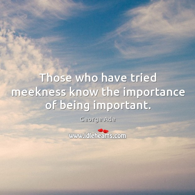 Those who have tried meekness know the importance of being important. George Ade Picture Quote