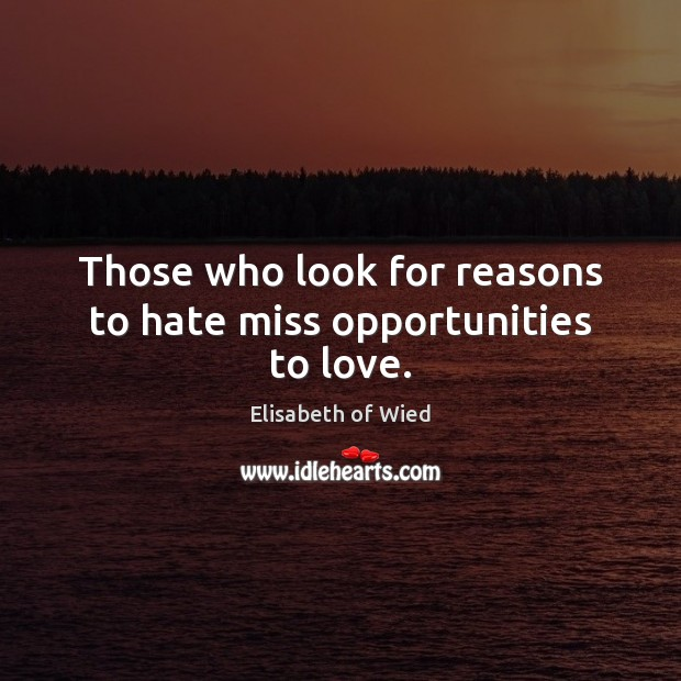 Image, Those who look for reasons to hate miss opportunities to love.