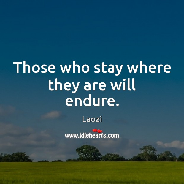 Those who stay where they are will endure. Laozi Picture Quote