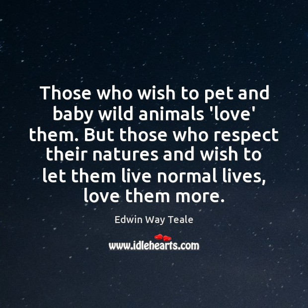 Those who wish to pet and baby wild animals 'love' them. But Edwin Way Teale Picture Quote