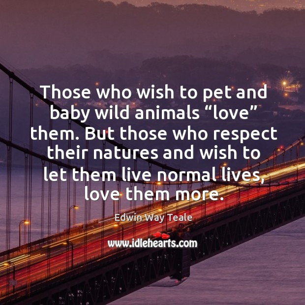 "Those who wish to pet and baby wild animals ""love"" them. Edwin Way Teale Picture Quote"