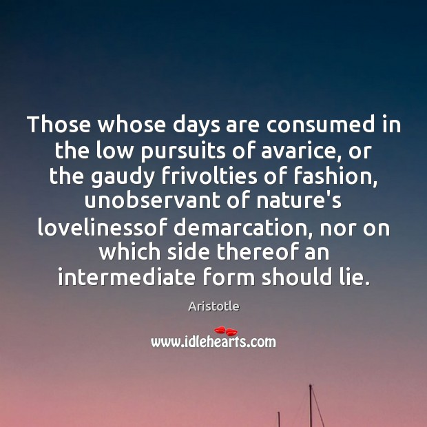 Image, Those whose days are consumed in the low pursuits of avarice, or