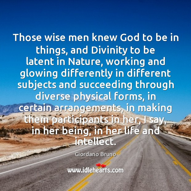 Those wise men knew God to be in things, and Divinity to Image