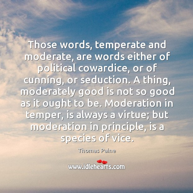 Image, Those words, temperate and moderate, are words either of political cowardice, or