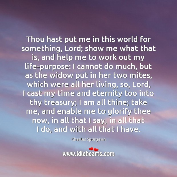 Thou hast put me in this world for something, Lord; show me Image