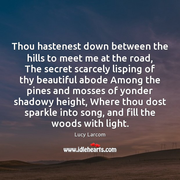 Image, Thou hastenest down between the hills to meet me at the road,