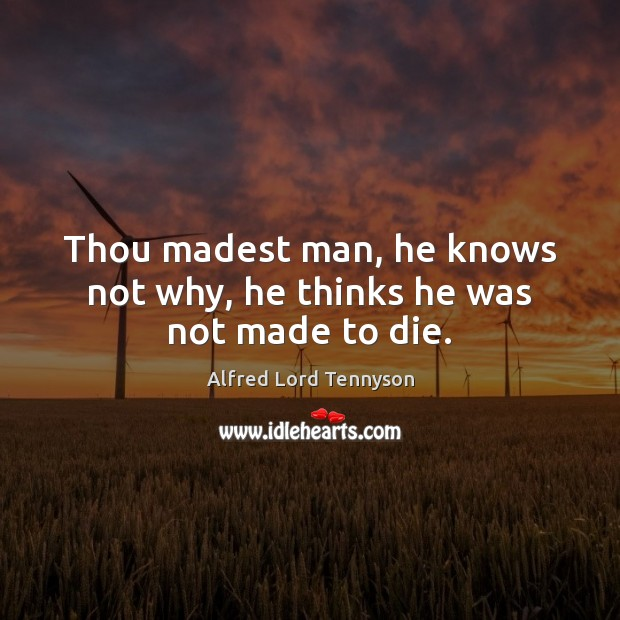Thou madest man, he knows not why, he thinks he was not made to die. Alfred Lord Tennyson Picture Quote