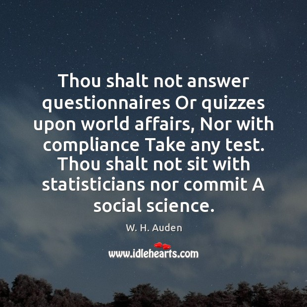 Thou shalt not answer questionnaires Or quizzes upon world affairs, Nor with W. H. Auden Picture Quote