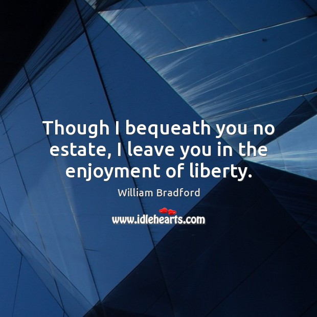Though I bequeath you no estate, I leave you in the enjoyment of liberty. William Bradford Picture Quote