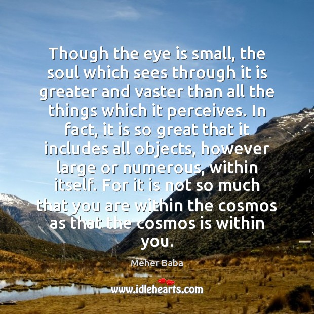 Though the eye is small, the soul which sees through it is Meher Baba Picture Quote