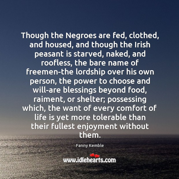 Image, Though the Negroes are fed, clothed, and housed, and though the Irish