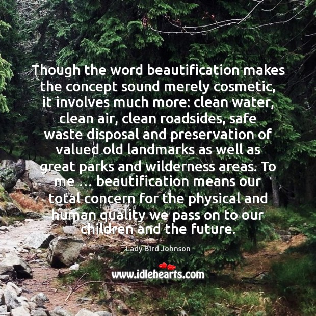 Though the word beautification makes the concept sound merely cosmetic, it involves Lady Bird Johnson Picture Quote