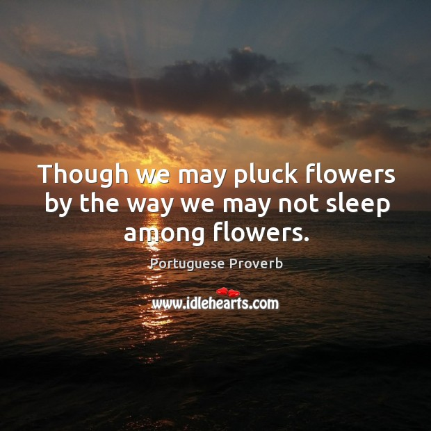 Image, Though we may pluck flowers by the way we may not sleep among flowers.
