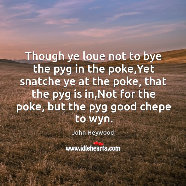Though ye loue not to bye the pyg in the poke,Yet Image