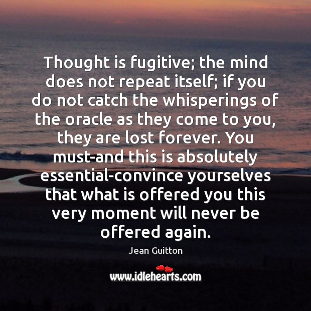 Thought is fugitive; the mind does not repeat itself; if you do Image