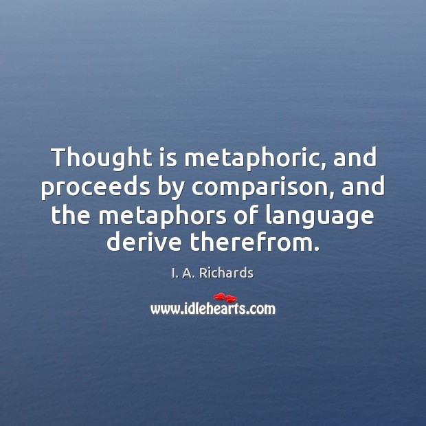Thought is metaphoric, and proceeds by comparison, and the metaphors of language Image