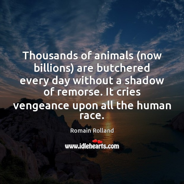 Thousands of animals (now billions) are butchered every day without a shadow Image