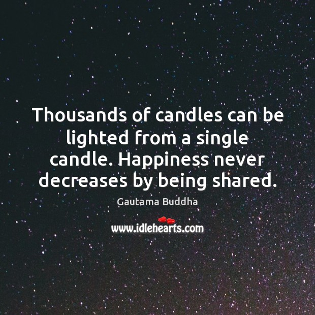 Image, Thousands of candles can be lighted from a single candle. Happiness never