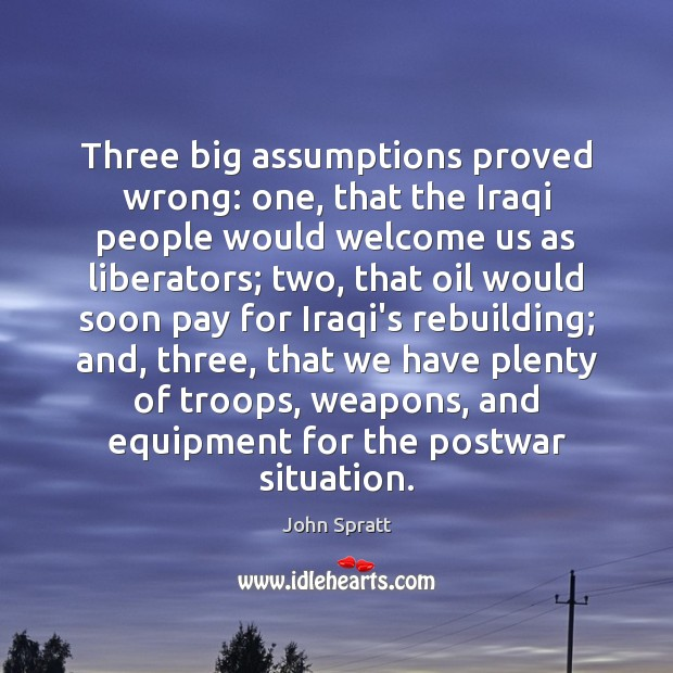 Three big assumptions proved wrong: one, that the Iraqi people would welcome Image