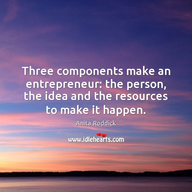 Three components make an entrepreneur: the person, the idea and the resources Image